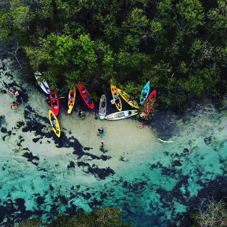 Overhead shot of break time on kayak tour
